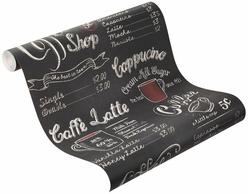 Papiertapete, Rasch, »Cafe« in schwarz, weiß, rot