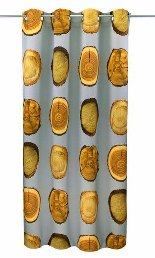 Vorhang »Holzscheibe Natur«, VHG, Ösen (1 Stück), Holz, Verdunkelungs, Dim Out