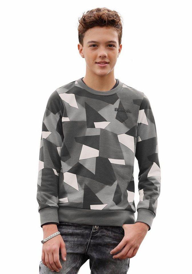 Bench Sweatshirt Allover bedruckt in grau-gemustert