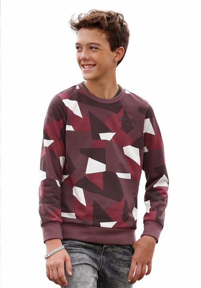 Bench Sweatshirt Allover bedruckt in bordeaux-gemustert