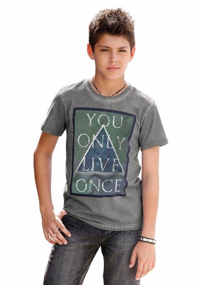 Buffalo T-Shirt mit Frontdruck in grau