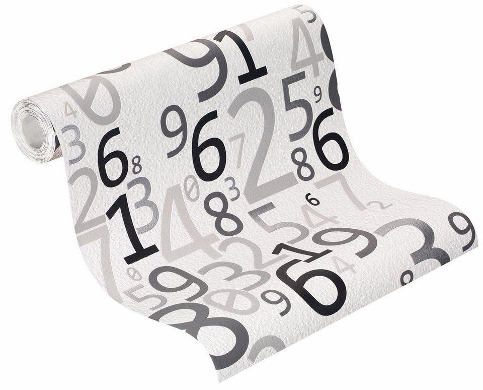 Vliestapete, Rasch, »Bits & Bytes 2« in weiß, schwarz, silber
