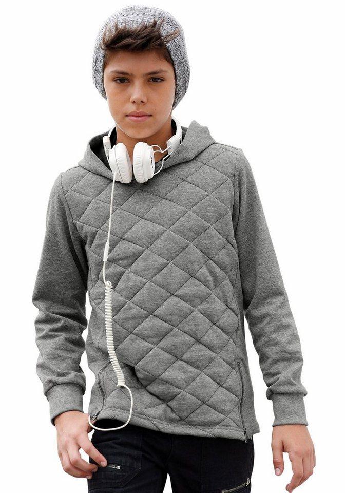 Buffalo Kapuzensweatshirt mit wattiertem Vorderteil in grau-meliert