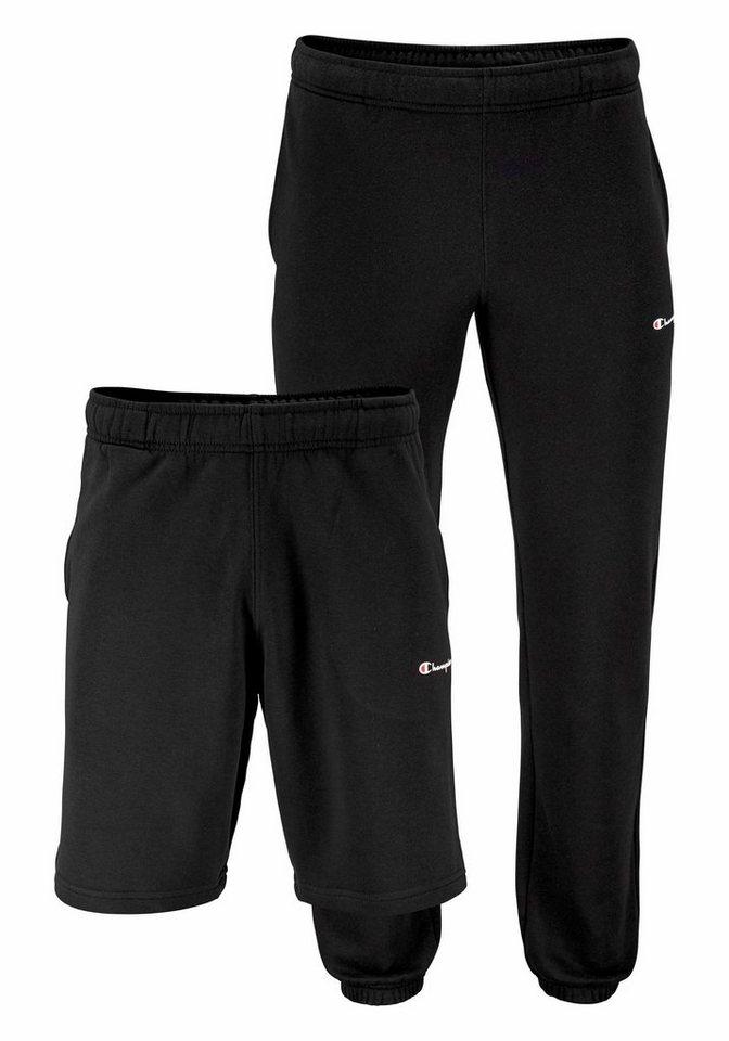 Champion Shorts Doppelpack: Lange Jogginghose und Shorts in schwarz+schwarz