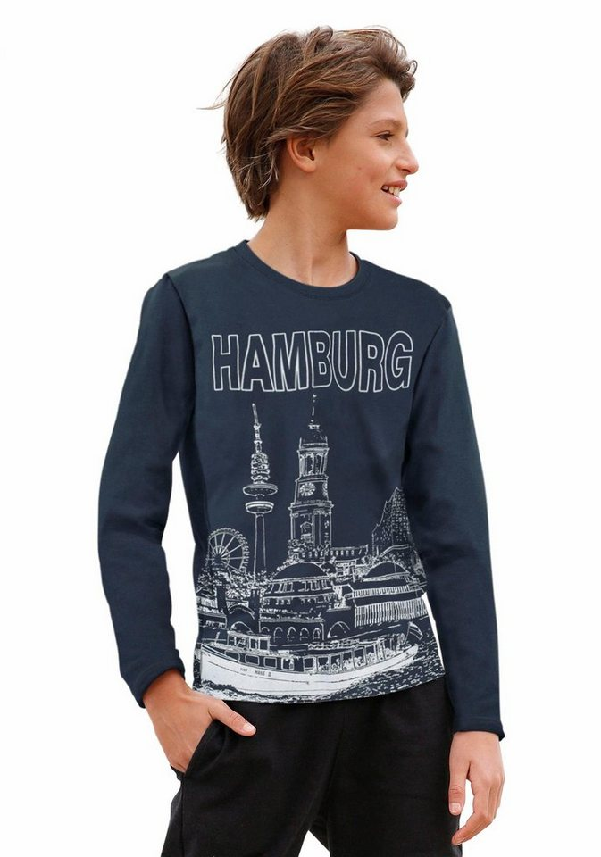 "Arizona Langarmshirt mit Städtedruck ""Hamburg"" in marine"