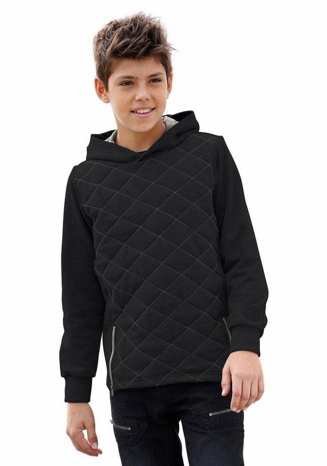 Buffalo Kapuzensweatshirt mit wattiertem Vorderteil in schwarz