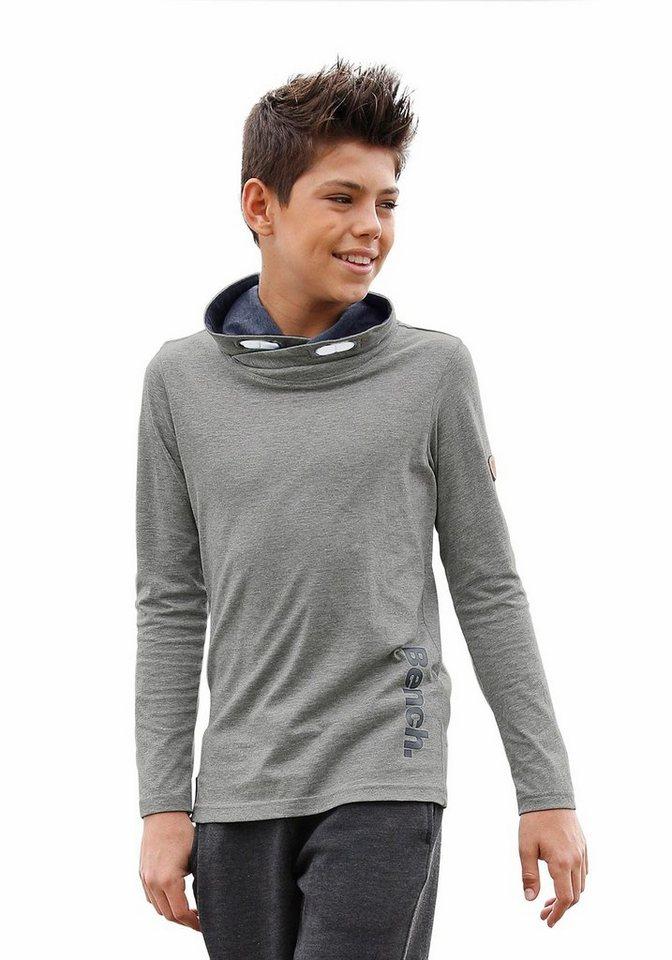Bench Langarmshirt Mit Schalkragen, innen kontrastfarbig in grau-meliert
