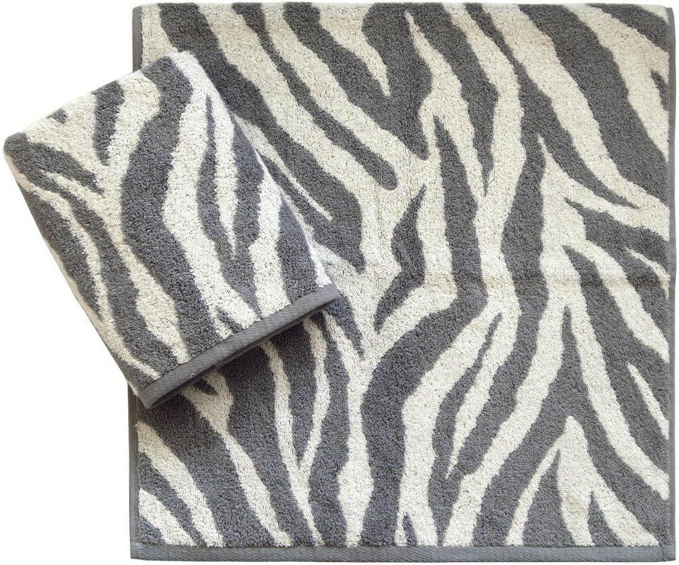 Handtücher, Dyckhoff, »Zebra«, in Zebrastreifen-Optik in grau