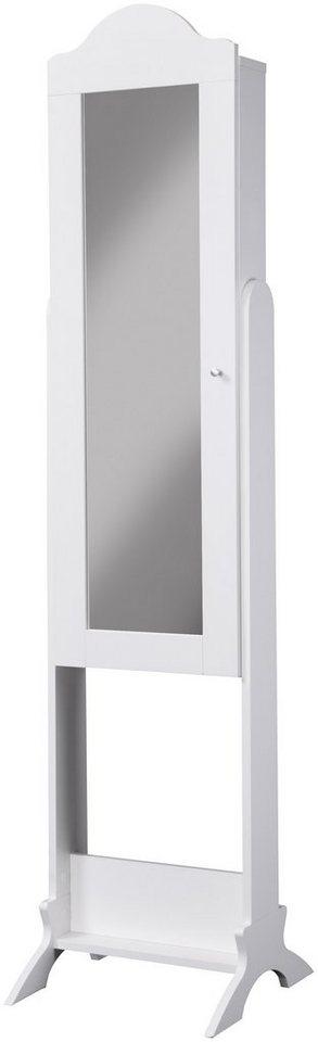 Schmuckschrank »Benita«, Spiegelschrank, stehend in weiß