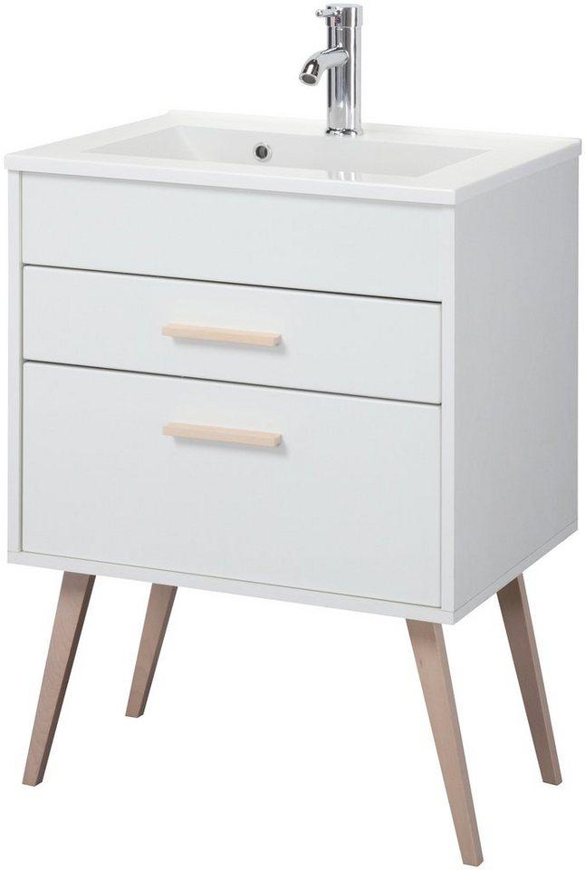 Held Möbel Waschtisch »Retro«, Breite 60 cm, (2-tlg.) in weiß matt