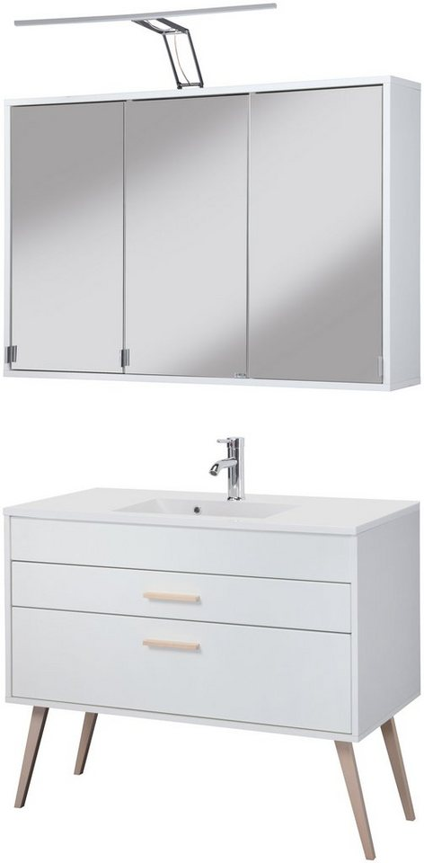 Held Möbel Badmöbel-Set »Retro«, Breite 100 cm, 2-teilig in weiß