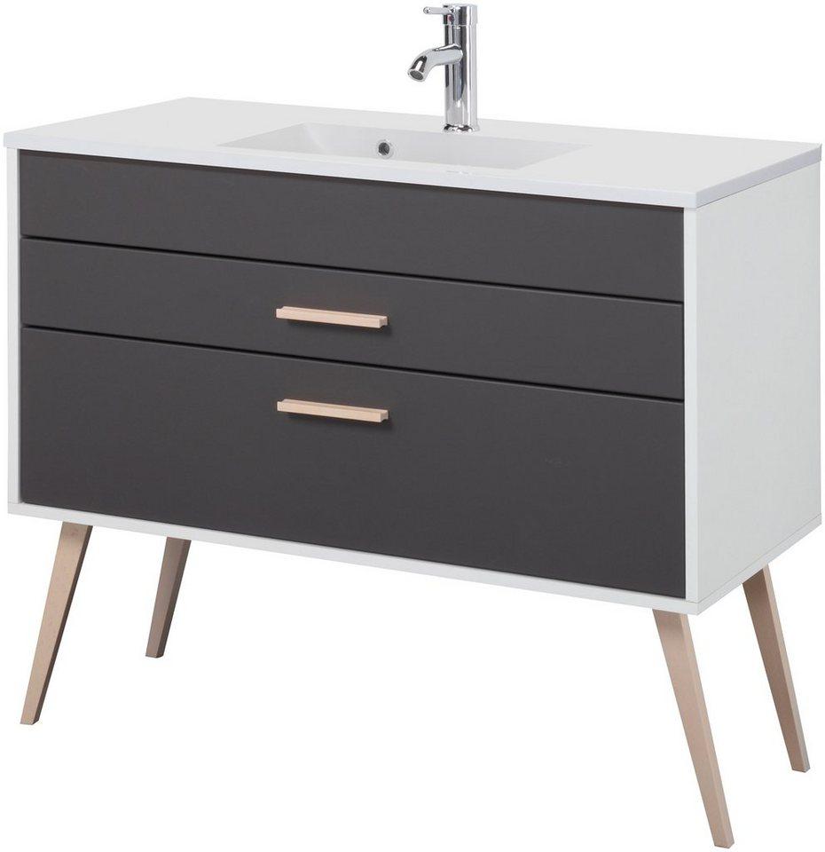 Held Möbel Waschtisch »Retro«, Breite 100 cm, (2-tlg.) in grau