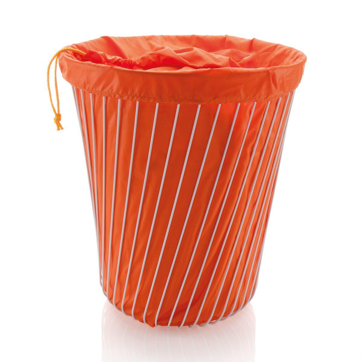 Alessi Alessi Wäschekorb Edelstahl weiß mit Stoffbeutel orange