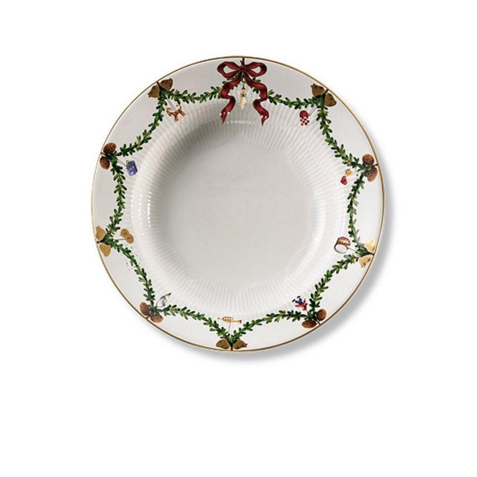 ROYAL COPENHAGEN ROYAL COPENHAGEN Teller, tief Star Fluted Christmas 24 cm in Weiß, Grün, Gold, Ro