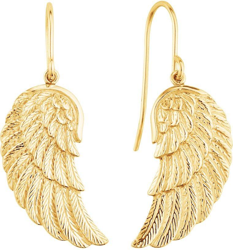Engelsrufer Paar Ohrhaken, »Flügel, ERE-WING-G« in Silber 925-18 Karat goldfarben vergoldet