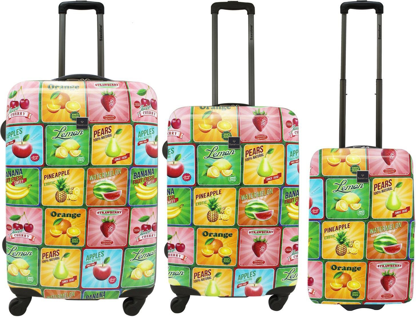 Saxoline, Hartschalen Trolley Set mit 2/4 Rollen, »Fruit« (3tlg.)