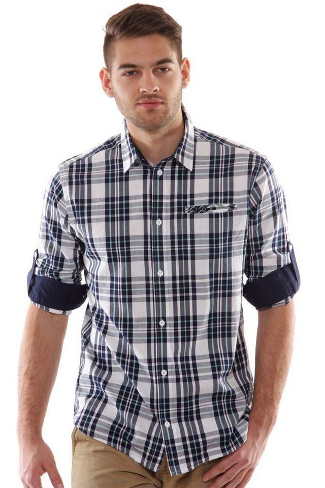 CASUAL FRIDAY Langarmhemd slim fit in blau/weiss