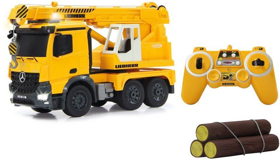 JAMARA RC Fahrzeug mit Programmierfunktion, »Schwerlastkran Mercedes Liebherr 2,4GHz 1:20 gelb« in gelb