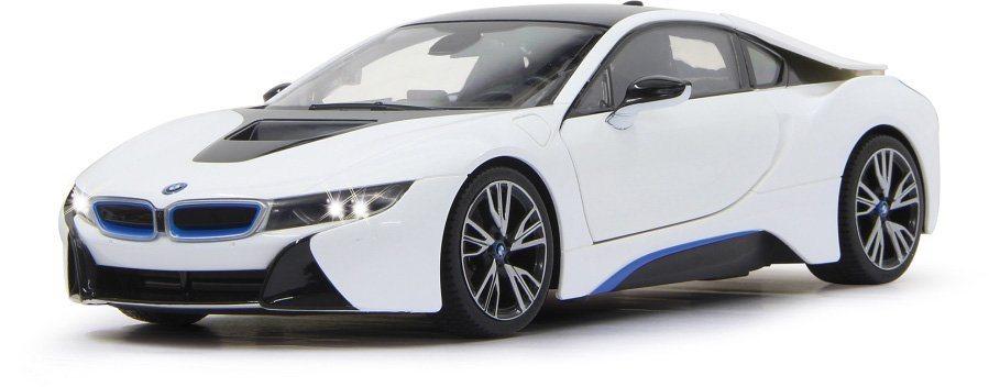JAMARA RC Fahrzeug mit LED Beleuchtung, »BMW i8 27MHz 1:14 weiß« in weiß