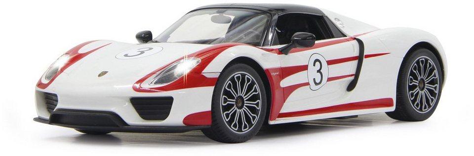 JAMARA RC Fahrzeug mit LED Beleuchtung, »Porsche 918 Spyder Race 27MHz 1:14 weiß« in weiß