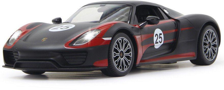JAMARA RC Fahrzeug mit LED Beleuchtung, »Porsche 918 Spyder Race 40 MHz 1:14 schwarz« in schwarz