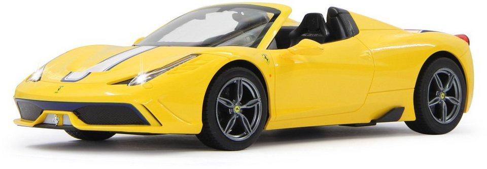 JAMARA RC Fahrzeug mit Licht und Sound, »Ferrari 458 Speciale 27MHz 1:14 gelb« in gelb