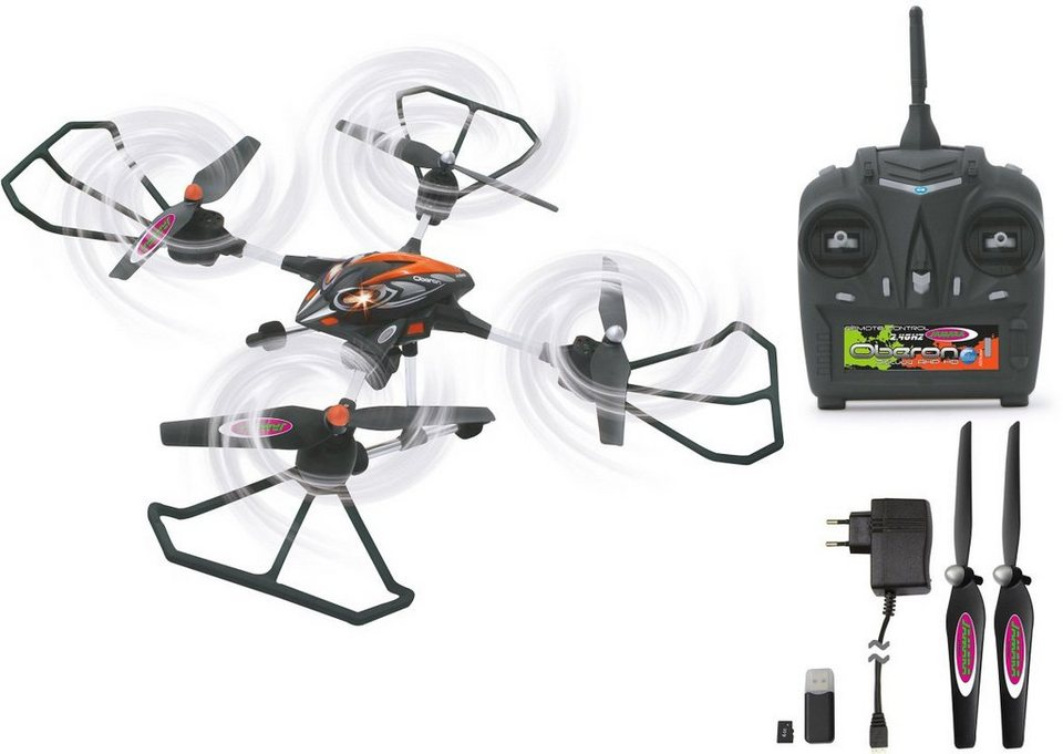 JAMARA RC Quadrocopter mit Kamera, »RC Oberon Altitude AHP 2,4GHz schwarz/rot« in schwarz