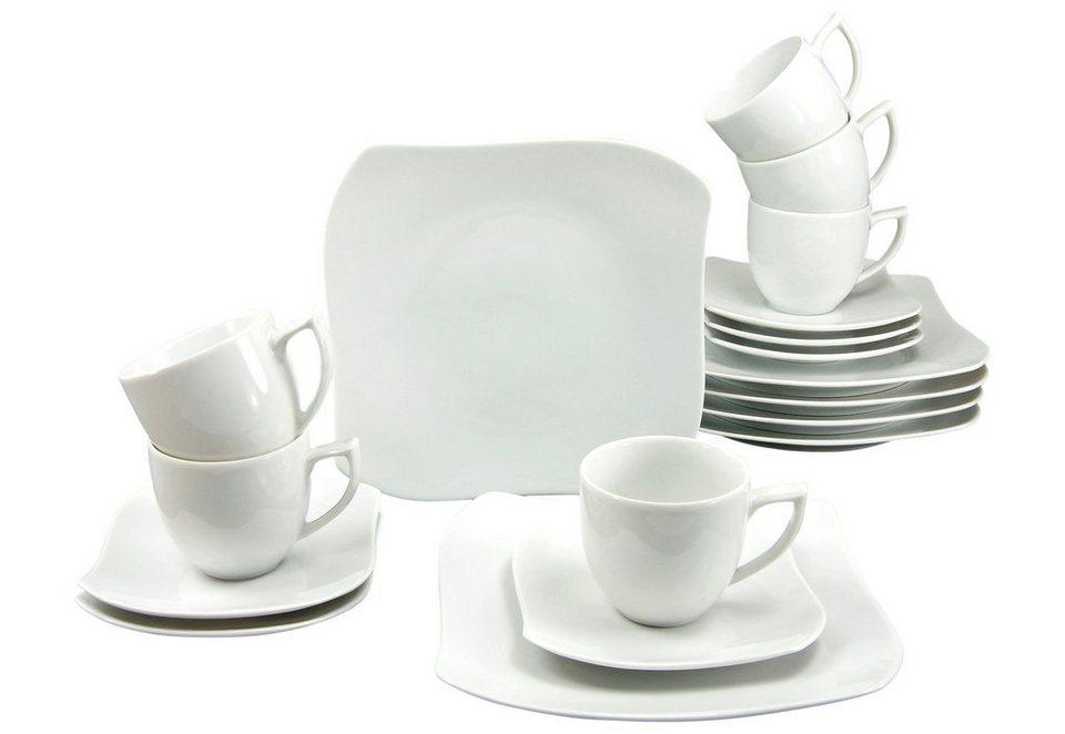 CreaTable Kaffeeservice, Porzellan, 18 Teile, »PRIAMO« in weiß