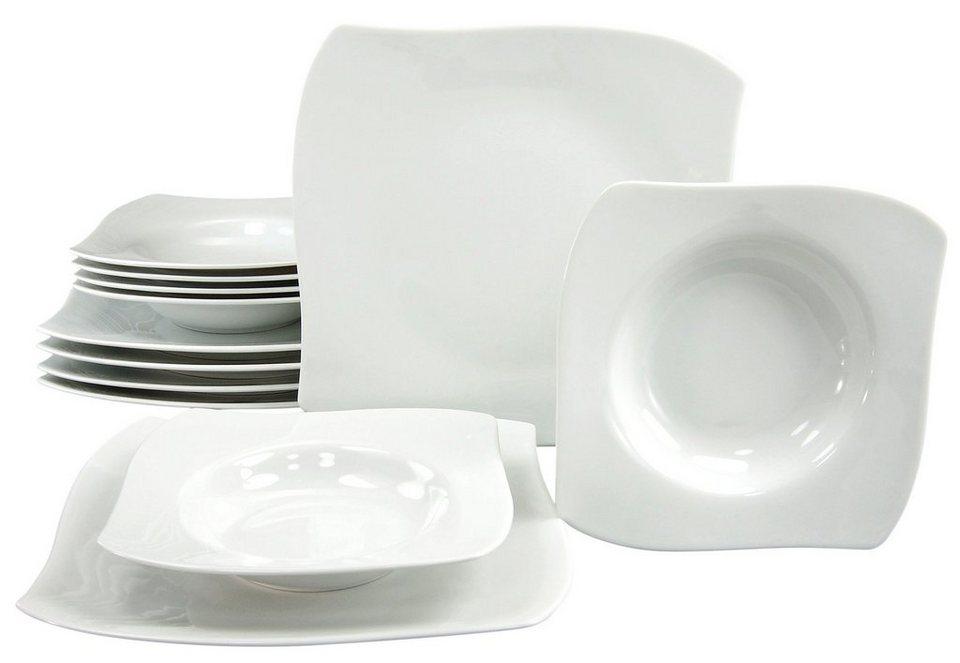 CreaTable Tafelservice, Porzellan, 12 Teile, »PRIAMO« in weiß