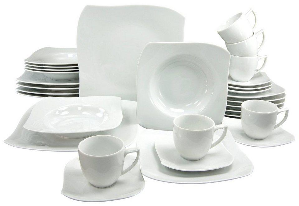 CreaTable Kombiservice, Porzellan, 30 Teile, »PRIAMO« in weiß