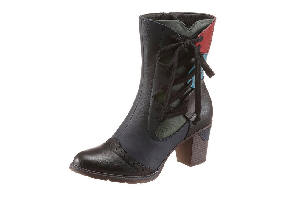 Rieker Stiefel in blau-schwarz-kontrastfarbene Details