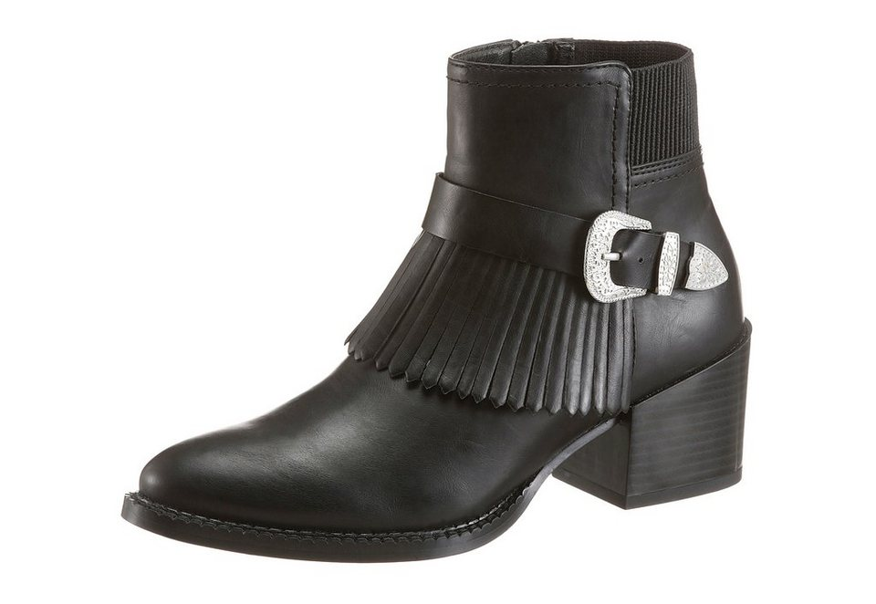 Vero Moda Stiefelette mit Fransenapplikation in schwarz