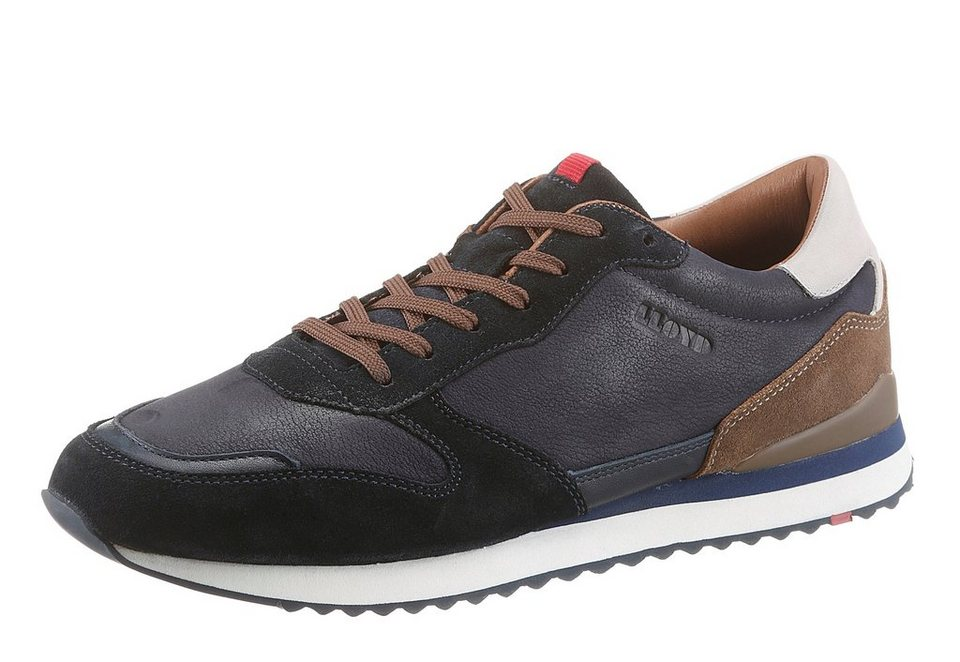 Lloyd »Edwin« Sneaker im Material Mix in dunkelblau-braun