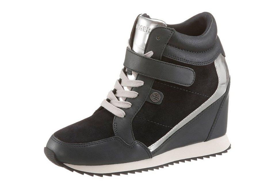 Tommy Hilfiger Wedgesneaker in dunkelblau-silberfarben