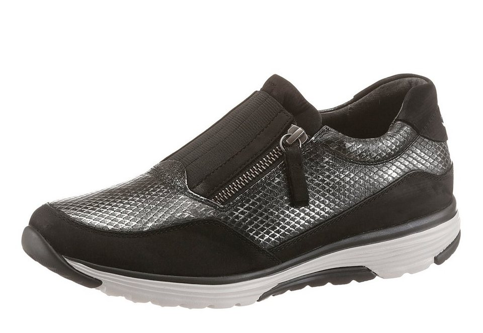Gabor Rollingsoft Slipper in schwarz-silberfarben