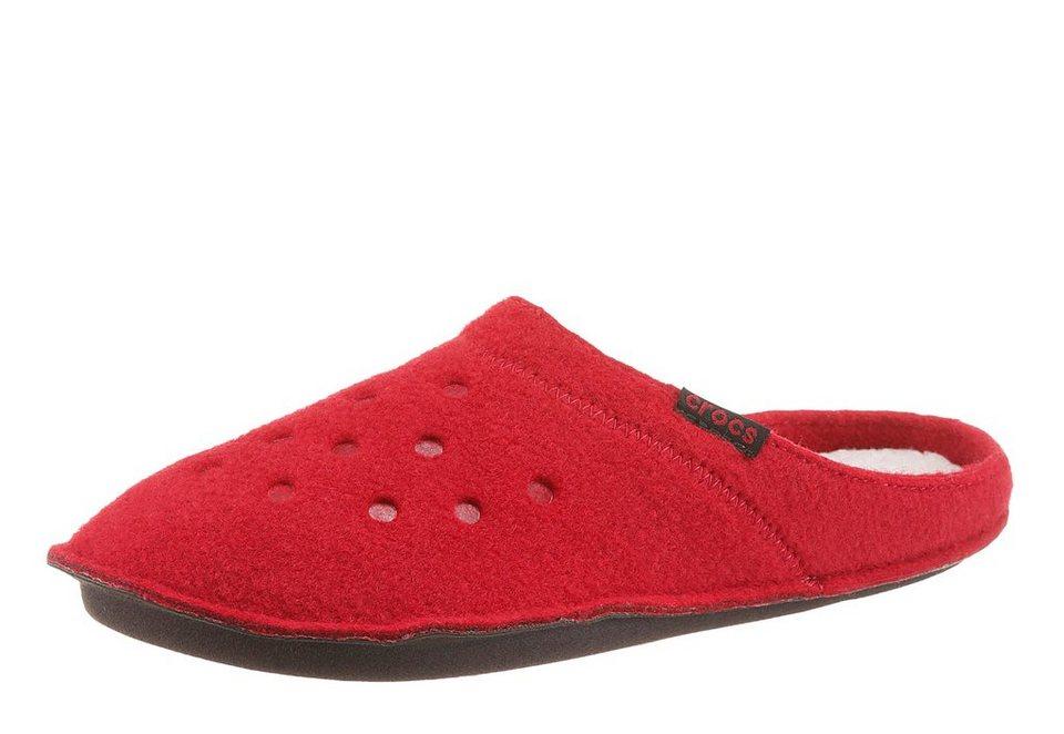 Crocs »Classic Slipper« Pantoffel mit Logo Flag in rot