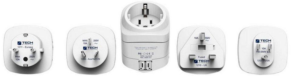 Travel Blue Reiseadapter (Europa nach Welt) mit Doppel-USB-Ladegerät, weiß