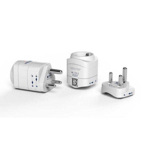 Travel Blue Reiseadapter (Europa nach Südafrika) mit Doppel-USB-Ladegerät, weiß