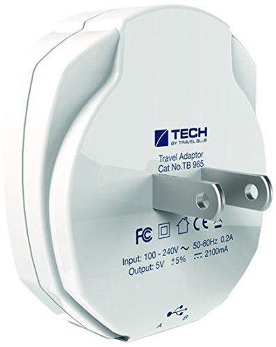 Travel Blue Doppel-USB-Ladegerät für USA-Steckdosen, weiß