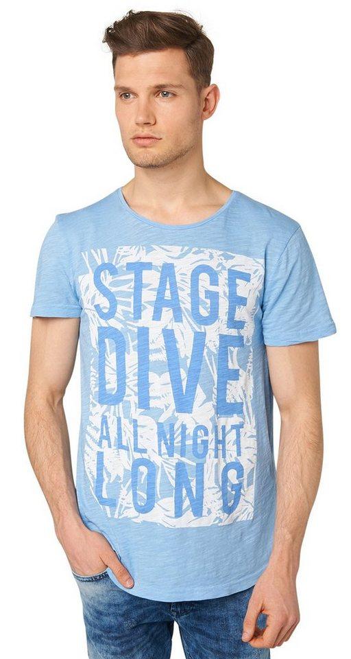 TOM TAILOR DENIM T-Shirt »crewneck w.placed flower print« in light blue