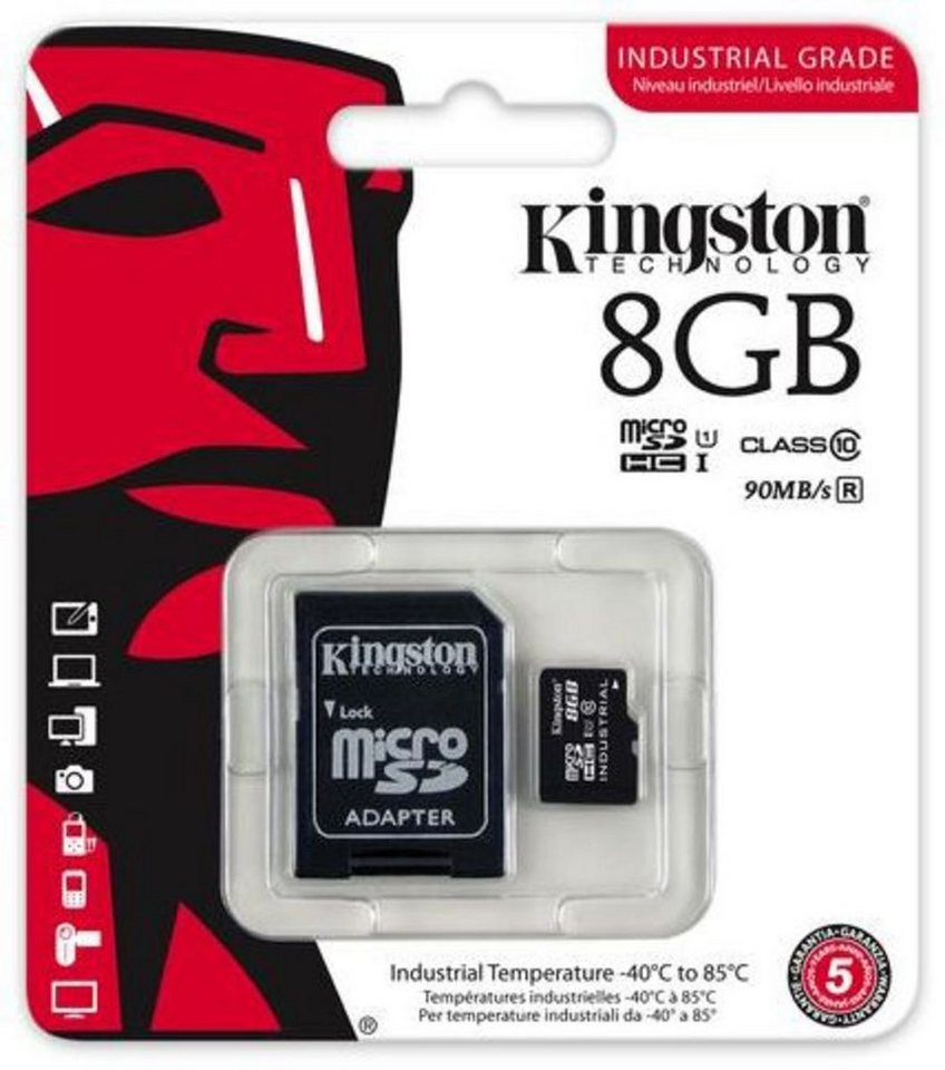 Kingston Speicherkarte »microSDHC Industrial Temp, UHS-1 mit Adapter, 8GB« in Schwarz