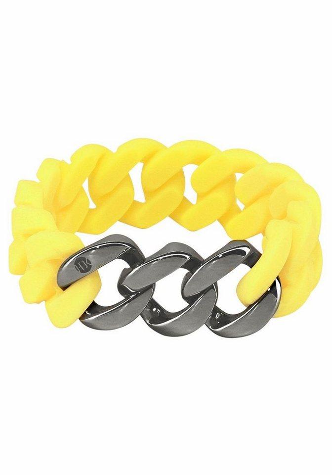HanseKlunker Armband im Panzerketten-Style in gelb-silberfarben