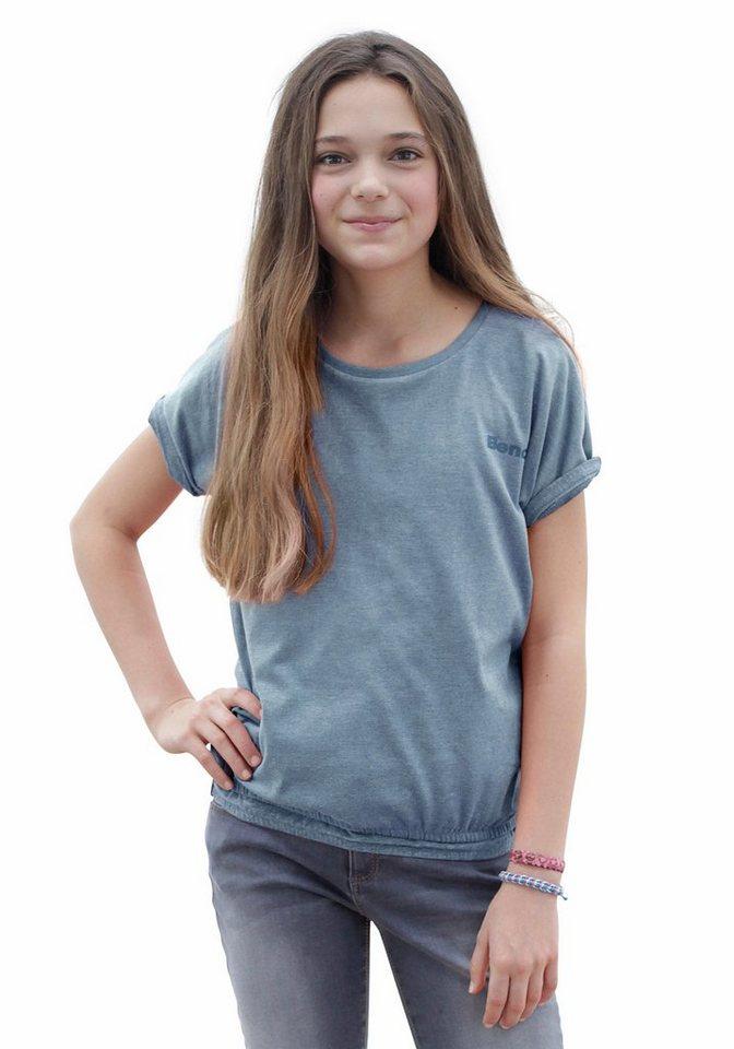 Bench T-Shirt mit überschnittener Schulter in blau-meliert