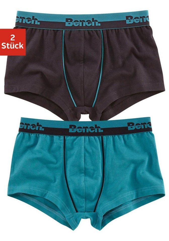 Bench Boxer (2 Stück) mit zweifarbigem Bündchen, »Cotton made in Africa« in petrol + schwarz