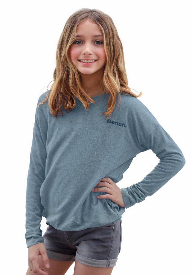 Bench Langarmshirt schmaler Ärmel und stark überschnittene Schulter in blau-meliert