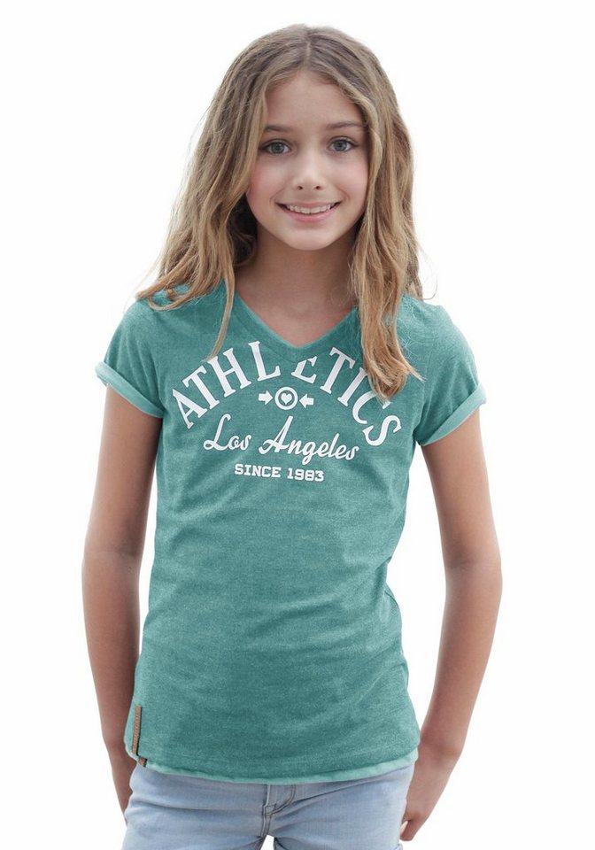 Bench T-Shirt mit V-Ausschnitt in mint-meliert