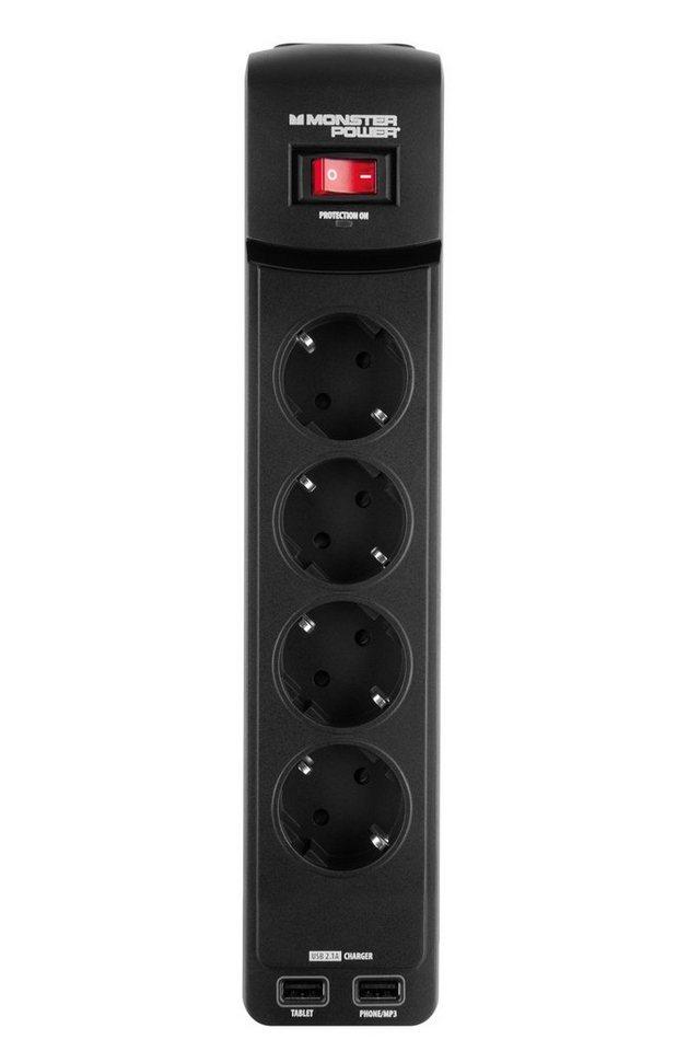 Monster 4-fache USB Steckdosenleiste mit Überspannungsschutz in black
