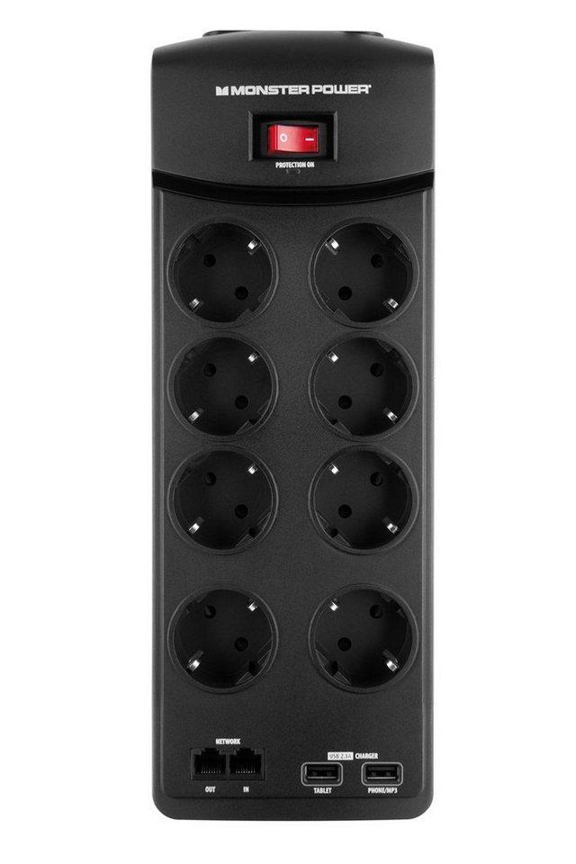 Monster 8-fache USB Steckdosenleiste mit Überspannungsschutz in black