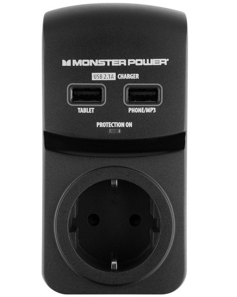 Monster 1-fache USB Steckdosenleiste mit Überspannungsschutz in black