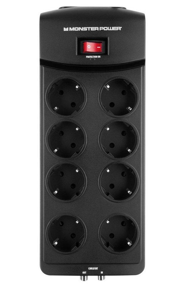 Monster 8-fache AV Steckdosenleiste mit Überspannungsschutz in black